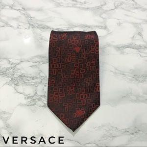 Versace Red Black Square Medusa Print Silk Tie EUC